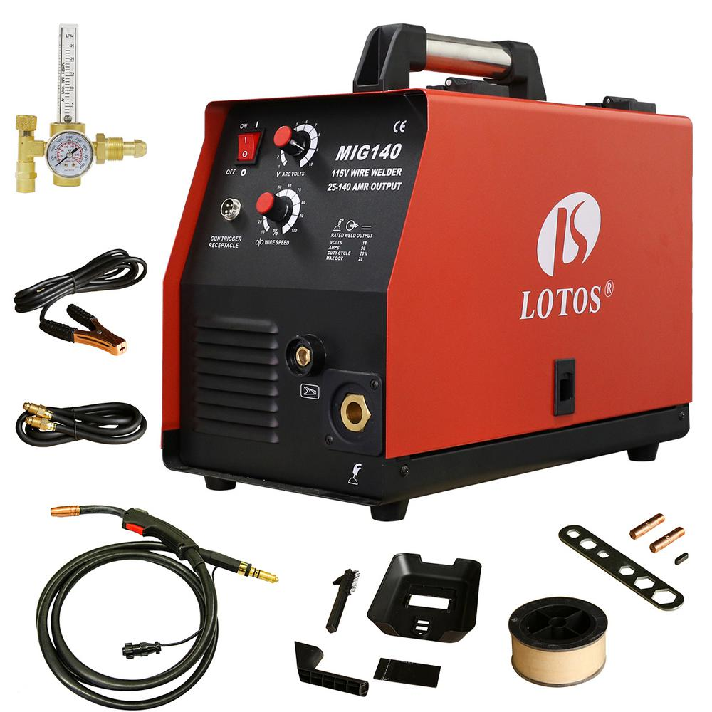 Lotos 140 Amp MIG Wire Feed welder Flux Core Welder and A...