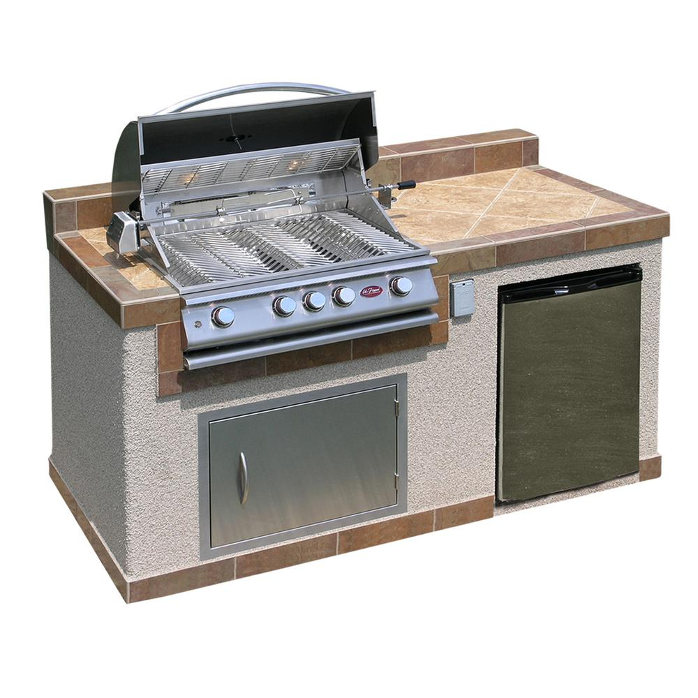 outdoor kitchen 4 burner barbecue grill island with refrigerator - Kitchen Island Home Depot