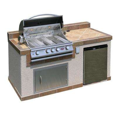 Outdoor Kitchen 4-Burner Barbecue Grill Island with Refrigerator