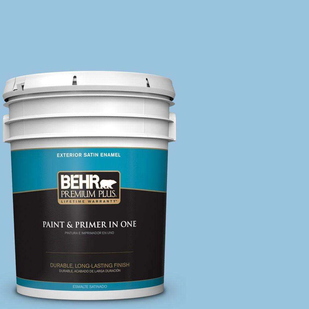 BEHR Premium Plus 5-gal. #560D-4 Madras Blue Satin Enamel Exterior Paint