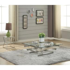 Salonius Stainless Steel and Clear Glass End Table
