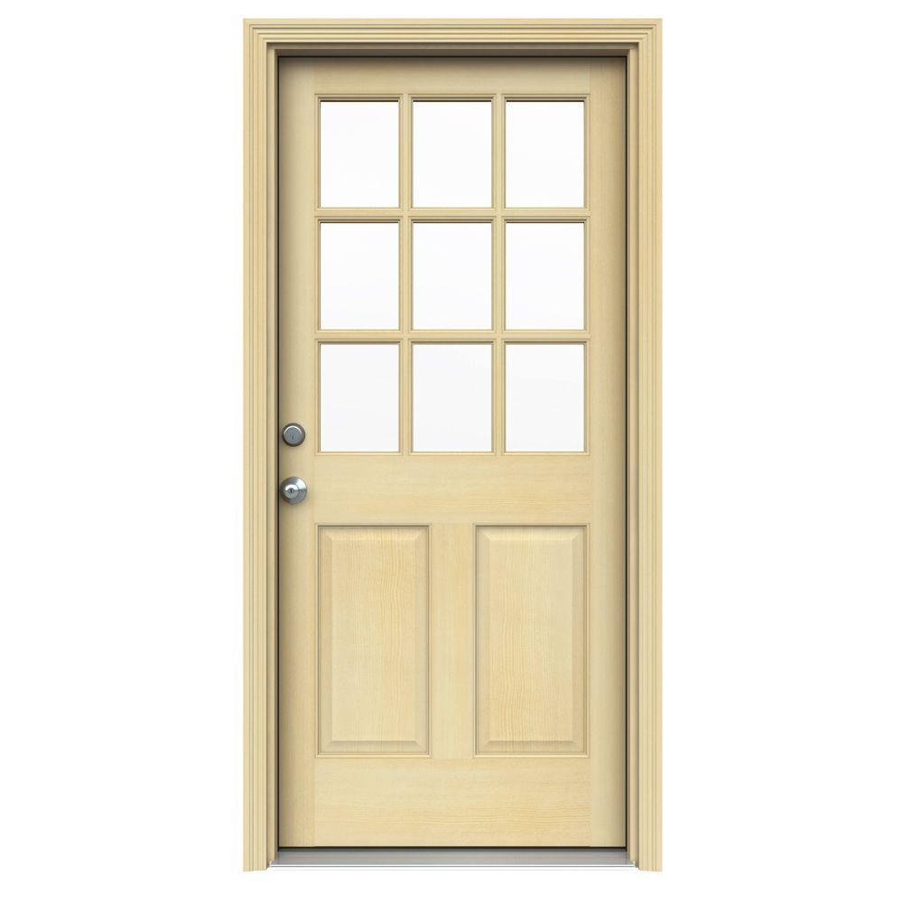 null 36 in. x 80 in. Hemlock 9 Lite Unfinished Prehung Front Door with AuraLast Jamb and Brickmold