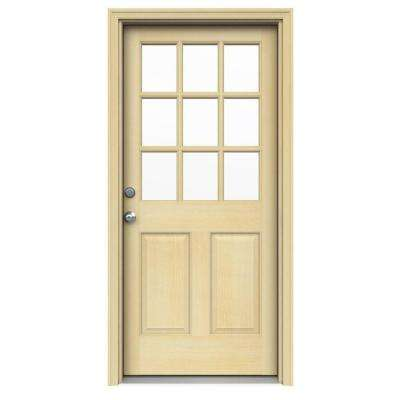 36 in. x 80 in. 9 Lite Unfinished Wood Prehung Right-Hand Inswing Front Door w/ Unfinished AuraLast Jamb and Brickmold