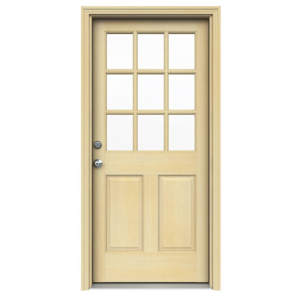 JELD-WEN 30 in. x 80 in. 9 Lite Unfinished Wood Prehung Right-Hand Outswing Front Door w/Rot Resistant Jamb and Brickmould