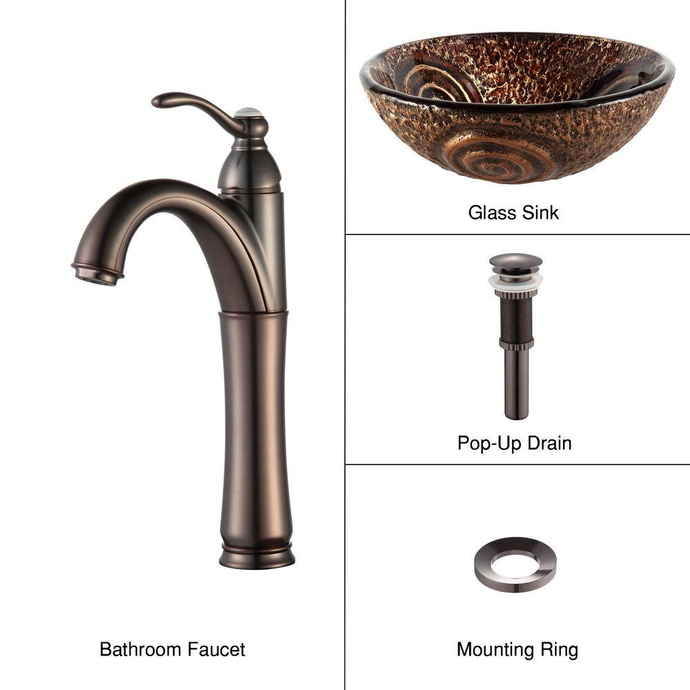 KRAUS Luna Glass Vessel Sink in Brown with Riviera Faucet in Oil Rubbed Bronze