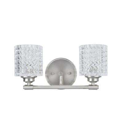 2-Light Brushed Nickel Vanity Light with Clear Glass Shade