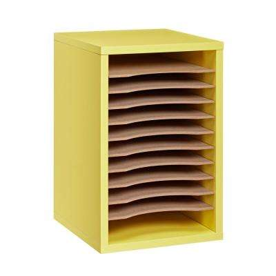 Wood 11 Compartment  Vertical Paper Sorter Literature File Organizer, Yellow