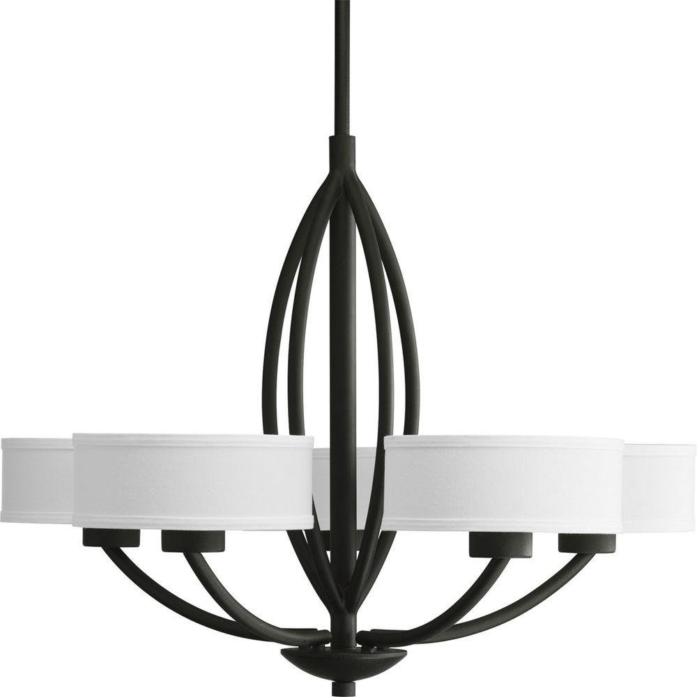 Black and white chandeliers musethecollective progress lighting calven collection 5 light forged black inspirational white aloadofball Images