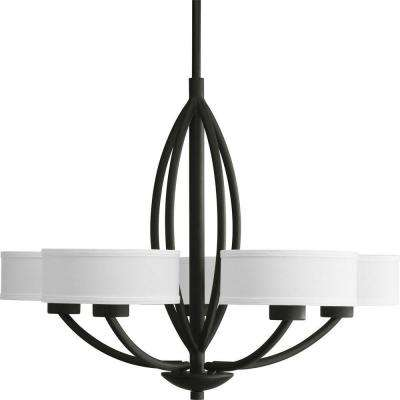 Calven Collection 5-Light Forged Black Chandelier with Shade
