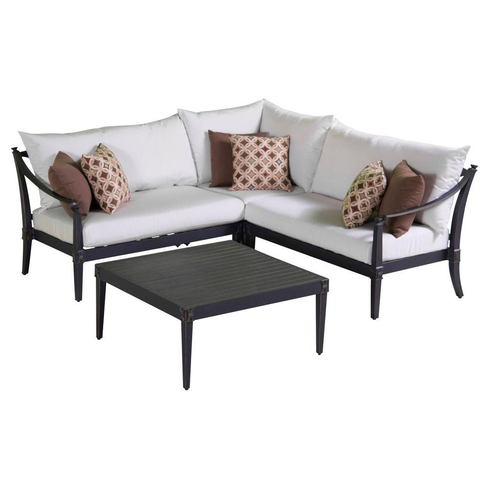 Rst Brands Astoria 4 Piece Patio Corner Sectional And Conversation Table Set With Moroccan Cream