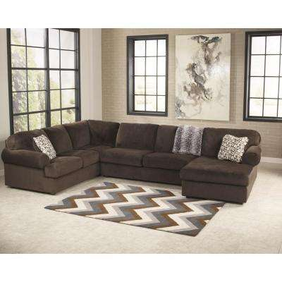 Signature Design By Ashley Jessa Chocolate Fabric Place Sectional