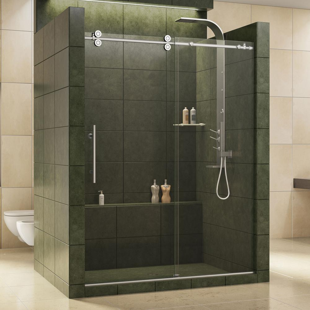 dreamline enigma 56 in to 60 in x 79 in frameless sliding shower door in polished stainless. Black Bedroom Furniture Sets. Home Design Ideas