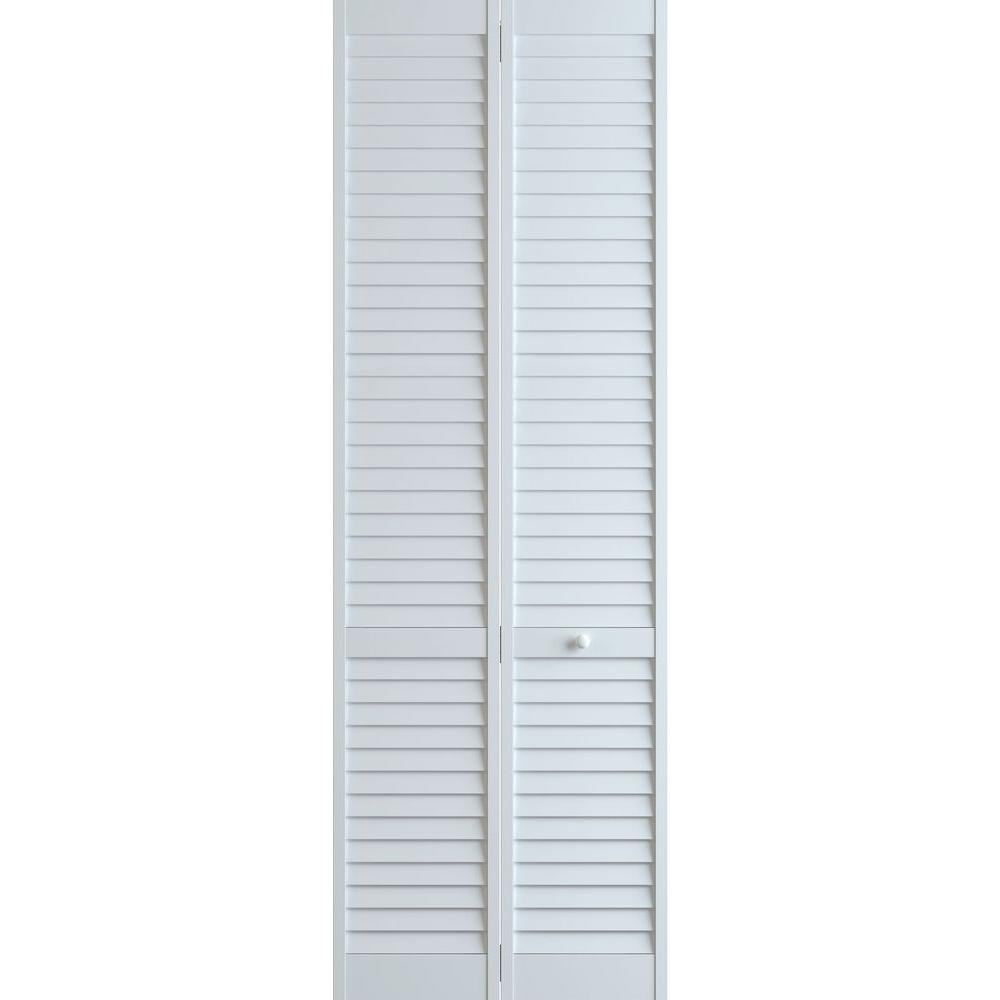 Frameport 36 in x 96 in louver pine white plantation - Interior bifold louvered closet doors ...