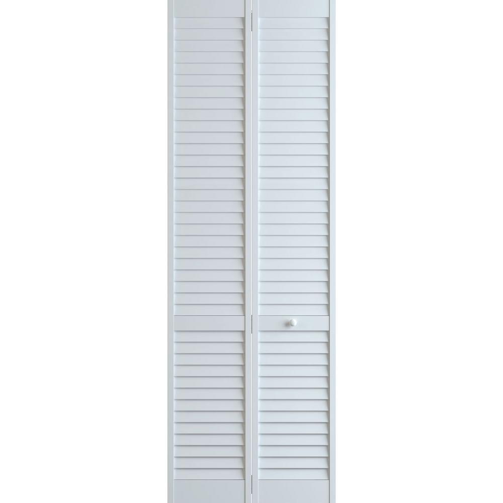 Frameport 36 In X 96 In Louver Pine White Plantation Interior Closet Bi Fold Door 3115283