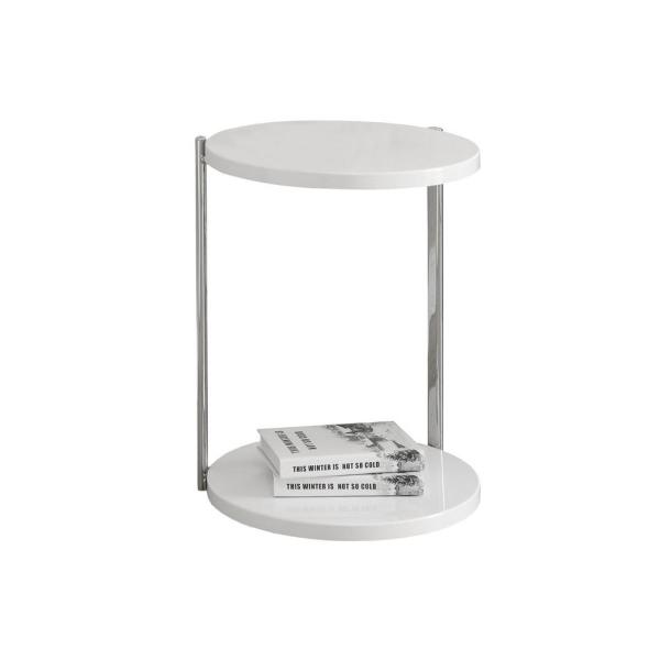 Jasmine 23.5 in. White Particle Board and Chrome Metal Accent Table