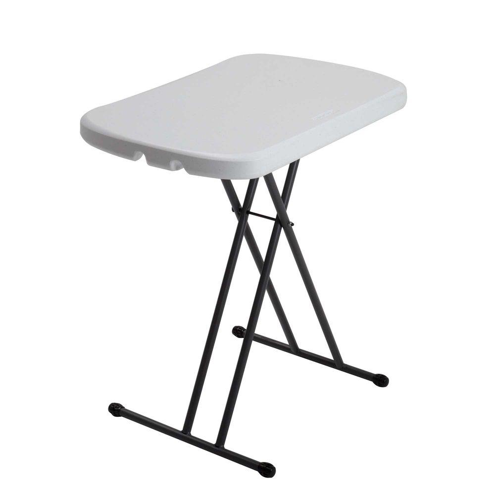 Lifetime Lifetime 26 in. White Plastic Adjustable Height Folding Utility Table
