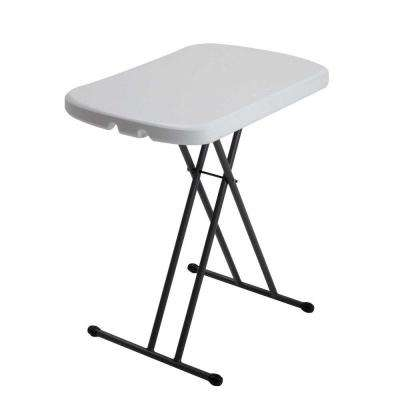26 in. White Plastic Ajudstable Height Folding Personal Table
