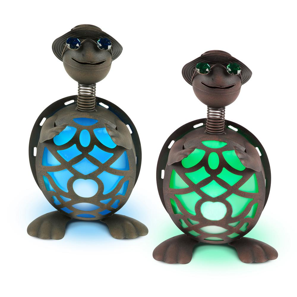 14.5 in. Tall Solar-Powered Metal Turtle Figurines (2-Set)