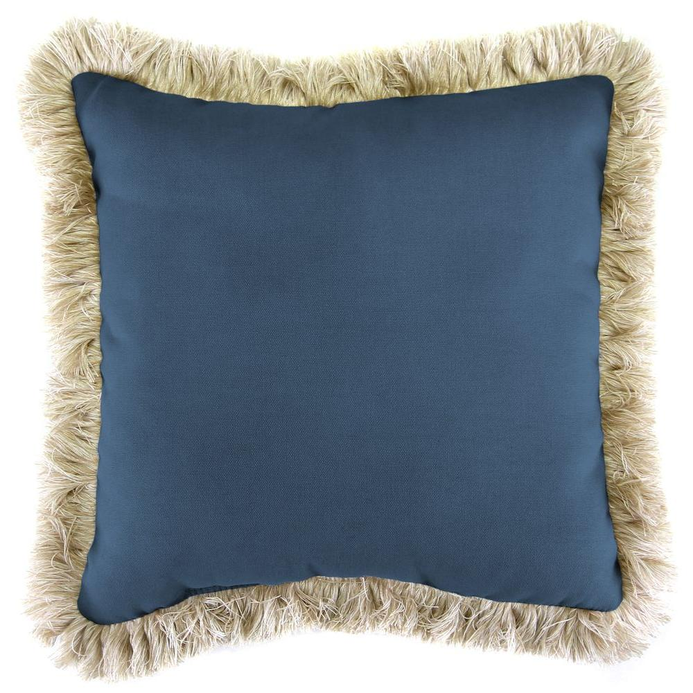Jordan Manufacturing Sunbrella Canvas Sapphire Blue Square Outdoor Throw Pillow with Canvas Fringe