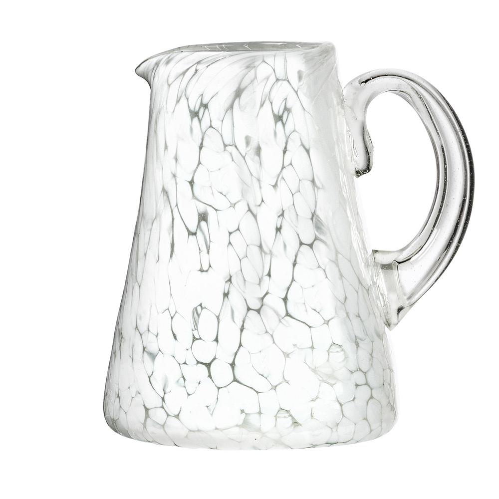 Carmen 80 oz. White Glass Pitcher with Opaque