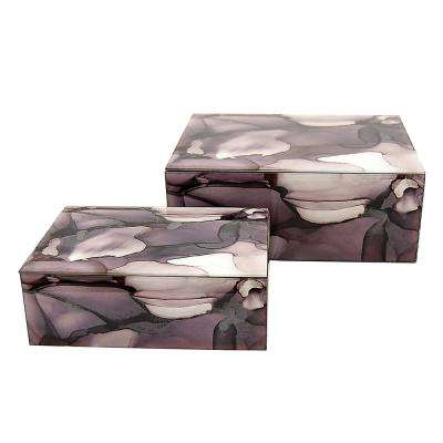10 in. x 7.75 in. Glass Boxes in Purple (Set of 2)
