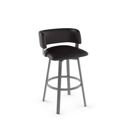 Stinson 26 in. Glossy Grey Metal Charcoal Mat Black Polyurethane Counter Stool