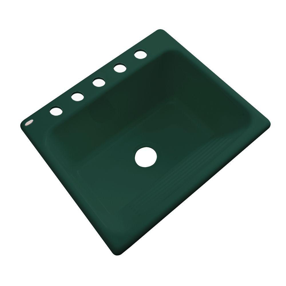 Kensington Drop-In Acrylic 25 in. 5-Hole Single Bowl Utility Sink in Timberline