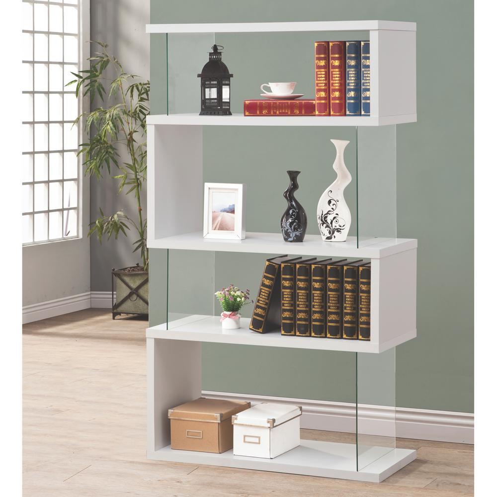 White Bookshelves: Venetian Worldwide Lorenz Glass And White Bookcase-V