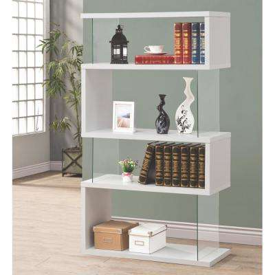 Lorenz Glass and White Bookcase