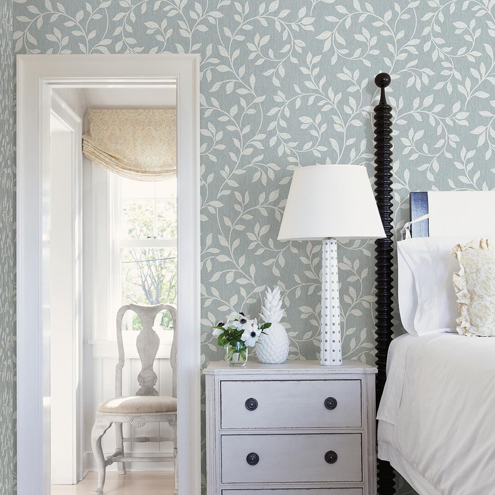 56.4 sq. ft. Torrey Light Blue Leaf Trail Wallpaper