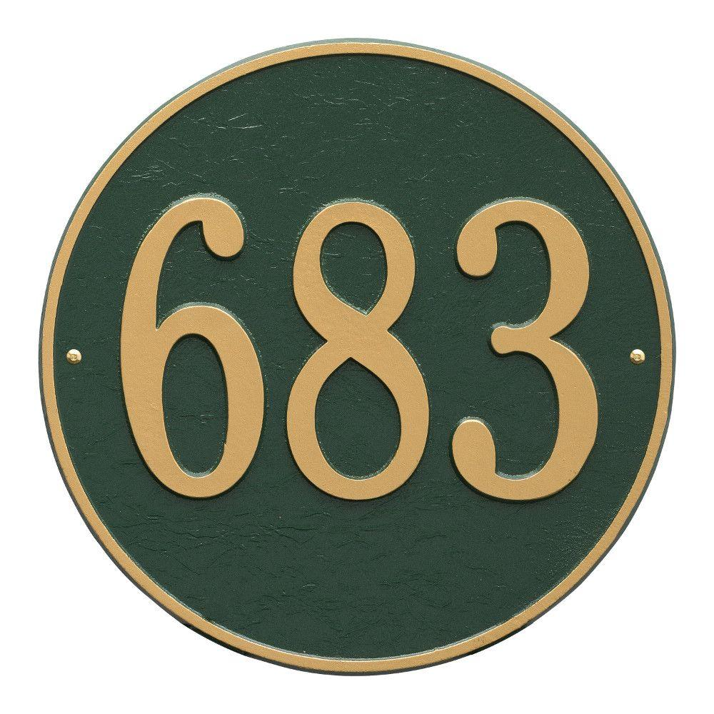 Whitehall Products Round Estate Green/Gold Wall 1-Line Address Plaque