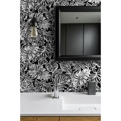 28.29 sq. ft. Tropical Leaf Black Peel and Stick Wallpaper