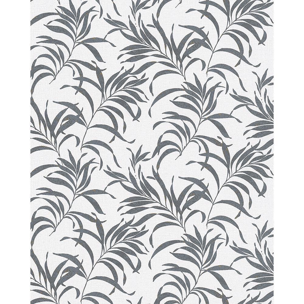8 in. x 10 in. Valentina Grey Leaf Wallpaper Sample