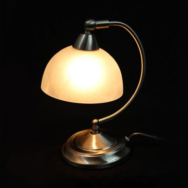 Elegant Designs 11 In Brushed Nickel Mini Modern Bankers Desk Lamp With Touch Dimmer Control Base Lt2029 Bsn The Home Depot