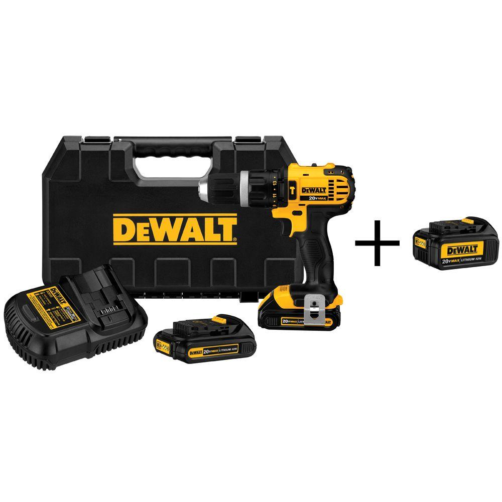 20-Volt MAX Lithium-Ion Cordless 1/2 in. Compact Hammerdrill w/ (2) Batteries