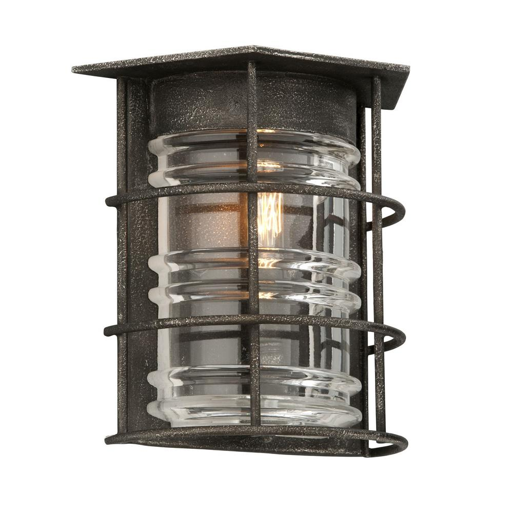 troy lighting brunswick aged pewter outdoor wall mount sconce b3791