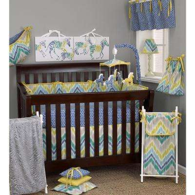 17 in. L Cotton Zebra Romp Straight Valance in Blue and White Dot