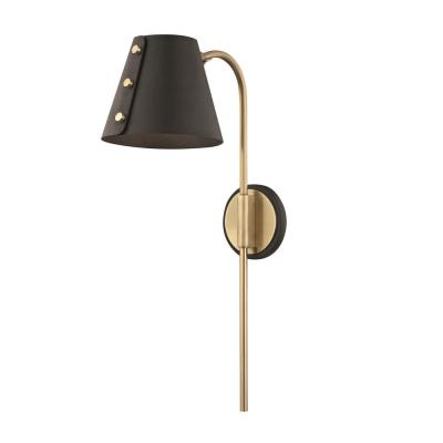 Meta 1-Light Aged Brass LED Wall Sconce with Plug and Black Accents