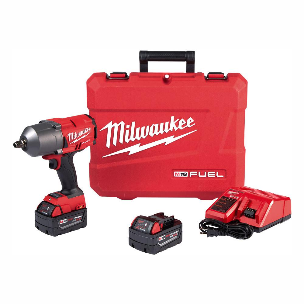 Milwaukee M18 FUEL 18-Volt Lithium-Ion Brushless Cordless 1/2 in. Impact Wrench with Friction Ring Kit With Two 5.0 Ah Batteries