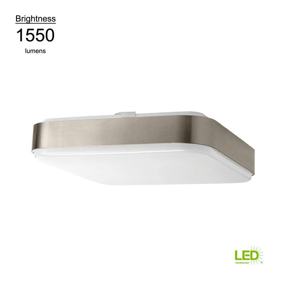 14 in. Brushed Nickel Bright White Square LED Flushmount Ceiling Light