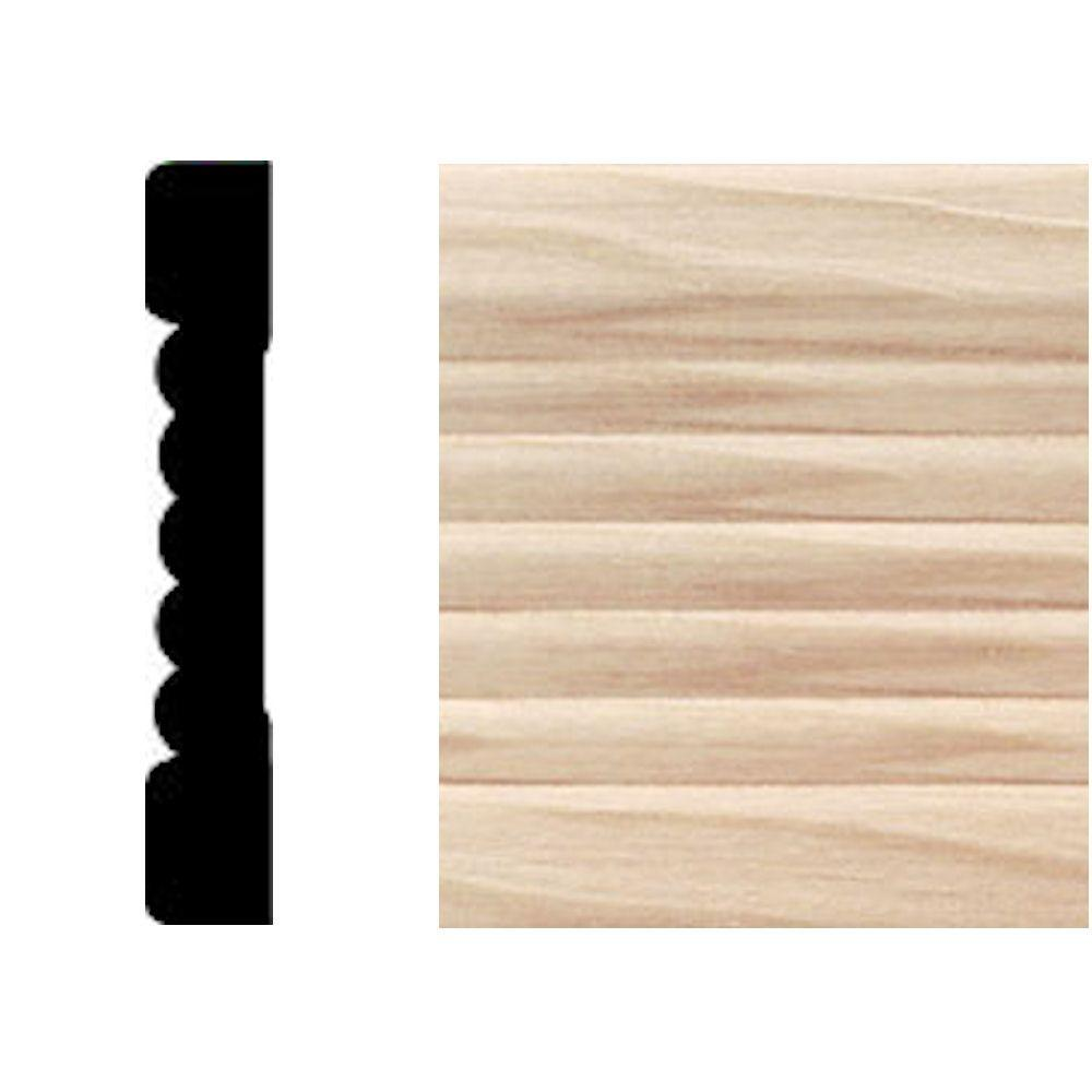 House of Fara 7/16 in. x 2-1/4 in. x 7 ft. Maple Fluted Casing