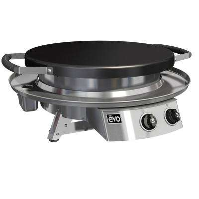 Professional Tabletop 2-Burner Propane Gas Grill in Stainless Steel with Flattop