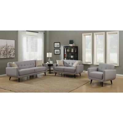 AC Pacific Crystal Upholstered Mid-Century 3-Piece Gray ...