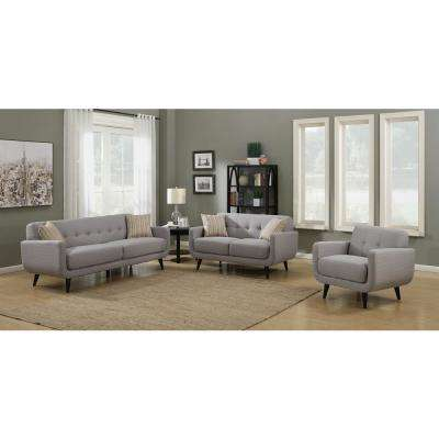 Crystal Upholstered Mid-Century 3-Piece Gray Living Room Set with 4-Accent Pillows