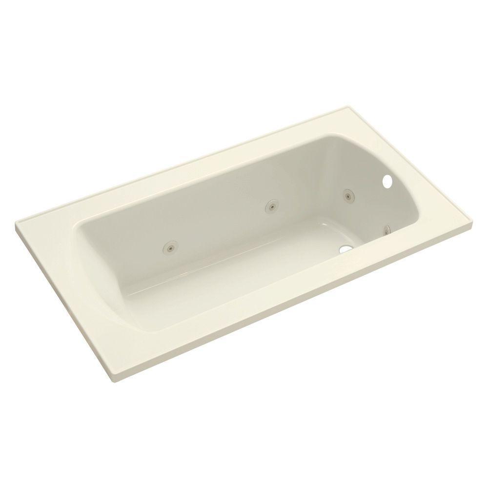 STERLING Lawson 60 in. Rectangular Drop-in Whirlpool Bathtub in Biscuit
