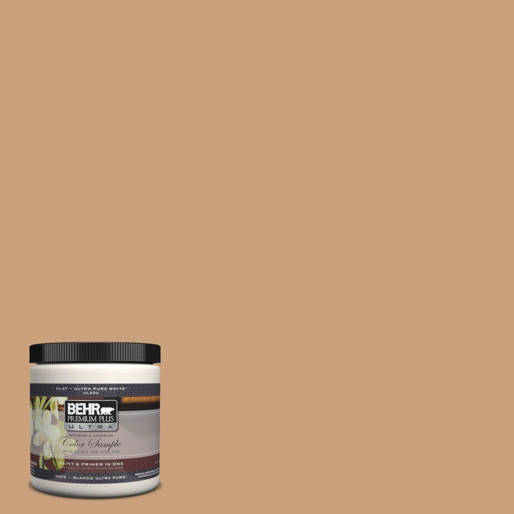 BEHR Premium Plus Ultra 8 oz. #270F-4 Peanut Butter Flat Interior/Exterior Paint and Primer in One Sample