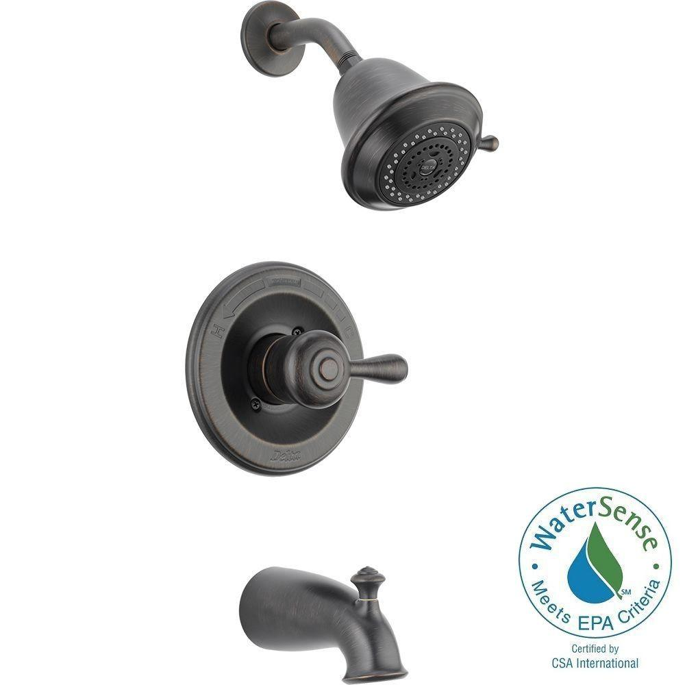 Delta Leland 1-Handle 3-Spray Tub and Shower Faucet Trim Kit in ...