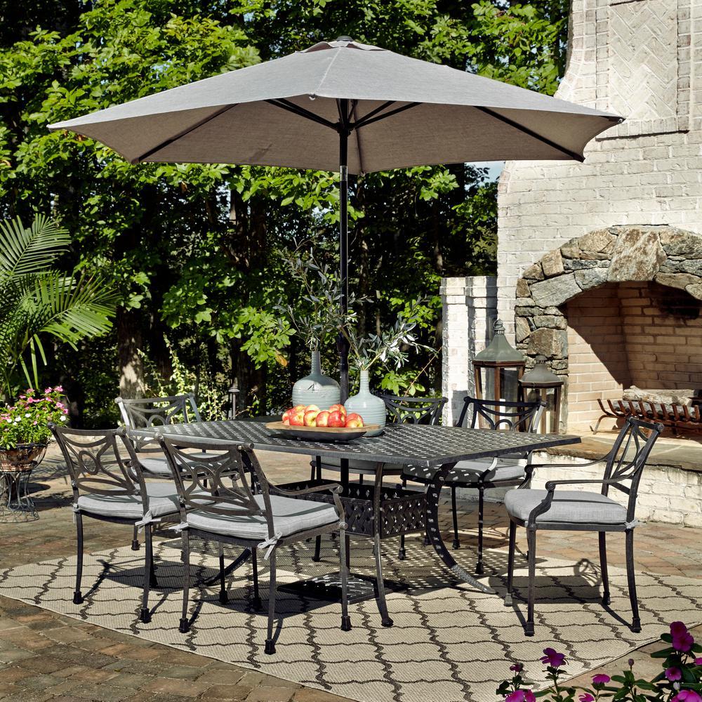 La Jolla Gray 7-Piece Aluminum Rectangular Outdoor Dining Set with Gray Cushions and Umbrella and Base