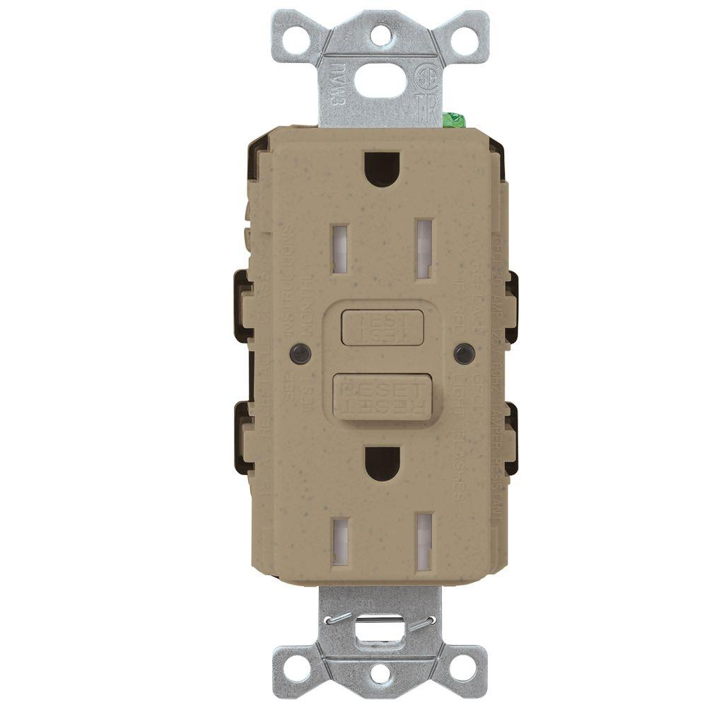 Taupe Electrical Outlets Receptacles Wiring Devices Light Kitchen Ontario Satin Colors 15 Amp Tamper Resistant Gfci Duplex Receptacle Mocha Stone