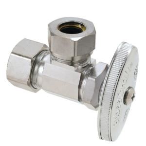 Brasscraft 1/2 inch Nominal Compression Inlet x 7/16 inch and 1/2 inch Slip-Joint Outlet Multi-Turn Angle Valve by BrassCraft